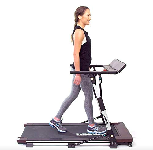 Landice M1 Folding Treadmill for The Home | Low Profile Compact Easy Storage | 3 Second Flat-to-Ready | USB Charger + Speakers