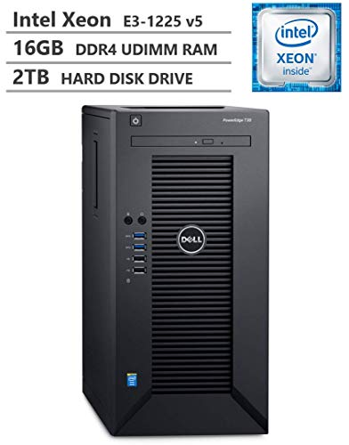 2019 Newest Dell PowerEdge T30 Premium Business Tower Server Desktop, Intel Xeon E3-1225 v5 up to 3.70GHz, 16GB DDR4 ECC UDIMM Memory, 2TB 7200RPM HDD, HDMI, DisplayPort, DVD-RW, No Operating System
