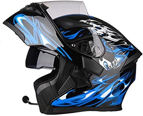 TKTTBD Motorcycle Modular Bluetooth Helmet Flip-Type Double Sun Visor Full Helmet DOT/ECE Certified Helmet Built-in Mp3 FM Broadcast Integrated Intercom Communication System H,L=58~59cm