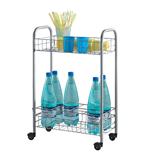 Metaltex, Carrello Multifunzione Con Porta Bottiglie Milano, Argento (Edelstahloptik), Metallo