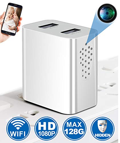 Spy Camera Wireless Hidden WiFi Camera with Remote Viewing, 1080P HD USB Charger Camera, Nanny Cam/Secret Camera/Security Camera, Perfect for Power Strip, Motion Activated, No Audio【Side View】