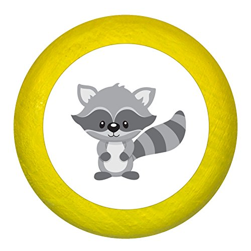 Kommodengriff Waschbär gelb Holz Kinder Kinderzimmer 1 Stück Waldtiere