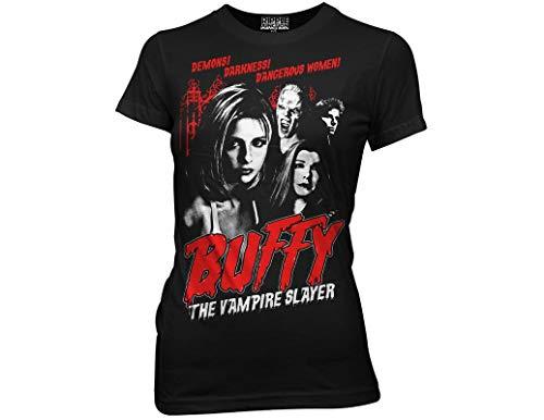 Ripple Junction Buffy The Vampire Slayer Juniors Cult Poster Light Weight 100% Cotton Crew T-Shirt MD Black