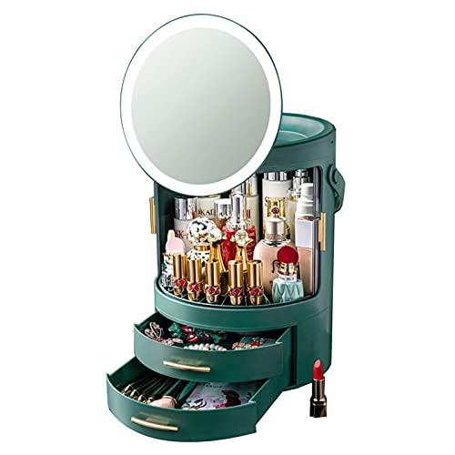 YXYH Caja Organizadora De Almacenamiento De Maquillaje 360° Rotación Estante Almacenamiento Cosméticos con LED Espejo De Luz para Encimera Baño Tocador Dormitorio