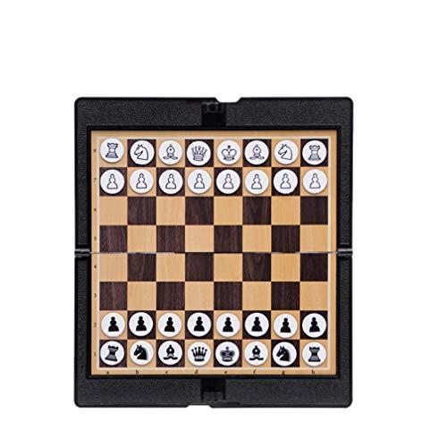 LIOOBO 1 Satz Reise Schach Brettspiele Sets Schach Checkers Kunstleder Faltbare Magnetische Intelligenz Spielzeug für Erwachsene Schulkinder (Schwarz)