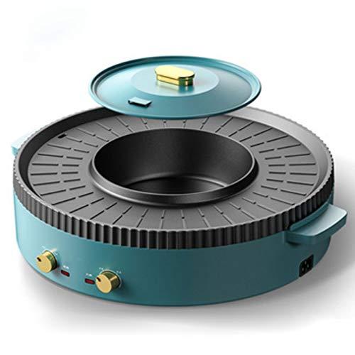 STBAAS BBQ Hot Pot, Haushalt Sichere E-Hot Pot, Barbecue Integrierte Pot Grill 1700W Doppeltemperaturregelung Multifunktionale Rauchfrei Non-Stick Elektrische Bakeware (Color : A)