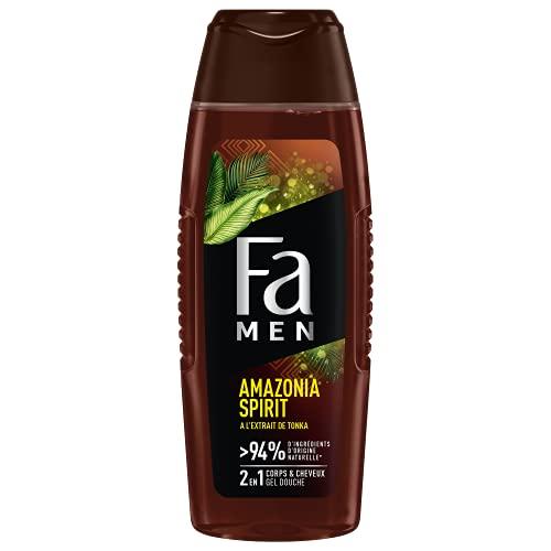 Fa Men - Gel Douche Corps Homme- Amazonia Spirit - Fève de Tonka - Formule de pH neutre pour la peau - Testé sous contrôle dermatologique - Bouteille
