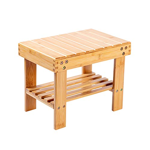 Utoplike Step Stool, Bamboo Small Stool for Children, Bedside Stepstools for High Beds, Foot Rest Stool with Storage Shelf for Bedroom, Shower, Non-Slip Light Weight