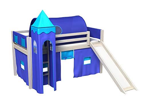 Bociek Meble Cama con tobogan,Torre,Tunel,2 x Bolsillos,Cortinas,colchón,Cama de Juego,Cama para niños,de Alta,Muchos Colores (BLANQUEADO-2041)