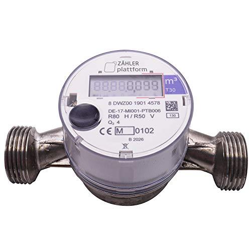 ZÄHLER plattform OMS Funk Wasserzähler Kalt Qn 2,5, Baulänge 130 mm, Durchfluss 3/4 Zoll, Anschluss 1 Zoll Eichung 2020 gültig bis 2026 Aufputzwasserzähler