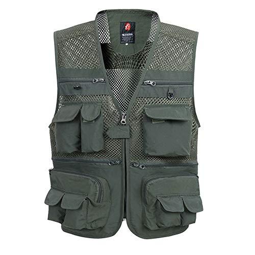 BEPAI Angel Westen, Herren Mesh Multifunktionsweste mit Vielen Taschen für Angeln Jagd Camping Safar,Green,XL
