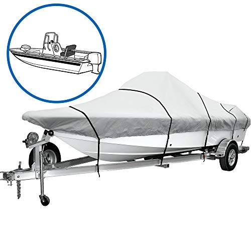 iCOVER Trailerable Boat Cover 600D Heavy Duty Boat Cover Fits VHull Center Console Boat 22ft24ft Long and Beam Width up to 102in Windshield Height up to 30in Boat Cover Support Pole Included