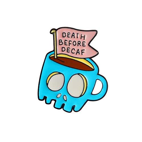 QISKAII Alfileres de Esqueleto de café Azul Muerte Antes del descafeinado Alfileres...