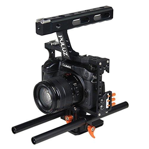 Accesorios de la cámara Jaula cámara Grip estabilizador for Sony A7 y A7S y A7R, A7R II y A7S II, III A7RIII y A7, Panasonic Lumix DMC-GH4 (Naranja) Digital (Color : Naranja)