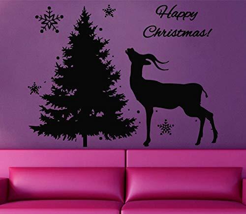 zhuziji Wand Sind Aufkleber Weihnachtsbaum Mit Rentier Silhouette Hause Festivalyear PVC Vinyl Removable Schlafzimmer Wand Stickers55x85cm