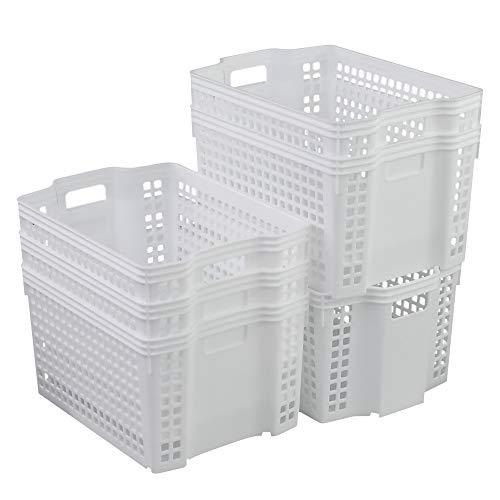 Xowine 6er-Set Weißer Stapel-Aufbewahrungskorb aus Kunststoff, stapelbarer Aufbewahrungskorb Organizer