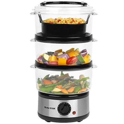 Salter EK2726 Healthy Cooking 3-Tier Food Rice Meat Vegetable Steamer | 60 Minute Timer, Stainless Steel, 7.5 liters