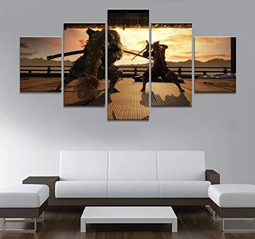 Murturall 5 stuks afdrukken op canvas schaduw sterven twee keer spel kunstdruk canvas schilderij Wolf Ninja afbeelding wandafbeeldingen voor wooncultuur 200x100cm
