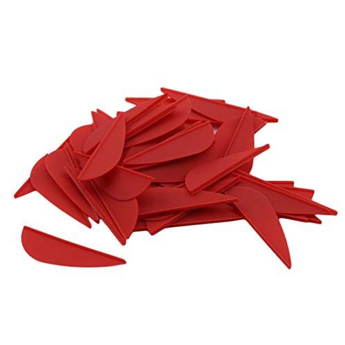 KUHRLRX 50 Stück Bogenschießen Pfeilfeder Wassertropfenform Truthahnfeder Flügel Befiederung für DIY Outdoor-Sportzubehör (rot)