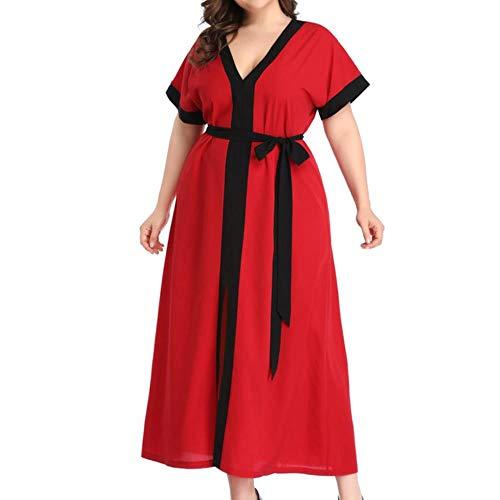 XMJ Omen Sommerkleid, Chiffon, Übergröße, V-Ausschnitt, Farbblock, kurze Ärmel Gr. XXX-Large, rot