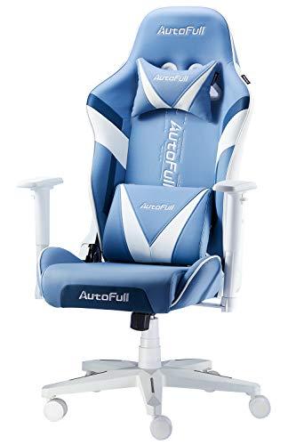AutoFull Gaming Stuhl Schreibtischstuhl Gamer Ergonomischer Bürostuhl mit hoher Rückenlehne und Lendenwirbelstütze,Einstellbare Sitzhöhe und Rückenlehnenneigung,Blau (DREI Jahre Garantie)