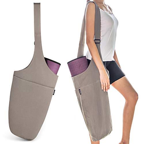 Gonex Yogamatte Tasche für Yogamatte, Tragetasche mit 1 großen offenen Taschen und 1 Innentasche mit Reißverschluss, Verstellbarer Schultergurt, gewaschenes Canvas, grau