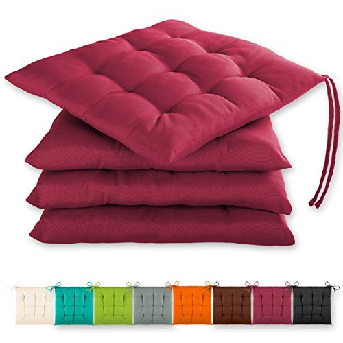 Gräfenstayn set of 4 seat cushions 40x40x3cm with retaining straps for indoor and outdoor with Oeko-Tex seal - (Fuchsia)