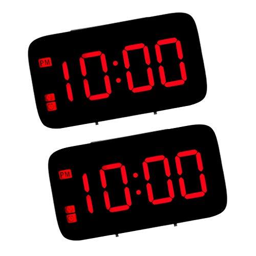 gazechimp 2 pcs Réveil Numérique Compact avec Port USB Pour Chargement, écran à LED, 12 / 24H, Snooze, Horloge de Chevet