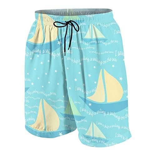 Ye Hua Shorts da tavola da Uomo A Lullaby I Saw A Boat A-Sailing, A Sailing On The Sea_748 Costume da Bagno Surf Beach Holiday Party Costume da Bagno Pantalone da Spiaggia M
