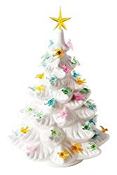 old vintage white porcelain xmas tree with birds