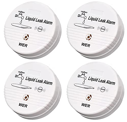 Wireless Water Leak Sensor Alarm - WER 90db Loud Buzzer, Longer Alarm Detection for Your Belongings (Shipped Without Battery)