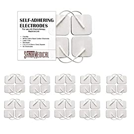 TENS Unit Pads Electrodes 2x2 40 Pcs Replacement Reusable Premium Pads Electrode Patches for Electrotherapy - Non Irritating Design 12 TENS unit pads have universal compatibility with all machines with pigtail connection. Flexible, comfortable, and easy to apply - sticks on lasting comfort and easy to peel off. Huge 40 piece set. TENS Pads Medical Electrodes are FDA Cleared OTC with resealable packaging for durability. Compatible with all TENS and EMS units with pigtail connection. TENS reusable pads electrodes are used for electro stim TENS therapy, EMS and electrode massager. Trusted self adhesive reusable electrodes for tens unit .