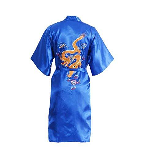 GYPPG Chinesische Herren Satin Seide Robe Stickerei Dragon Kimono Bademantel Unisex...