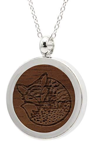 NaturSchatulle Kette mit Anhänger Holz Gravur Fuchs Halskette Holzanhänger Medaillon Silber 925 Damen Kettenanhänger Amulett Holzschmuck Charms 50cm