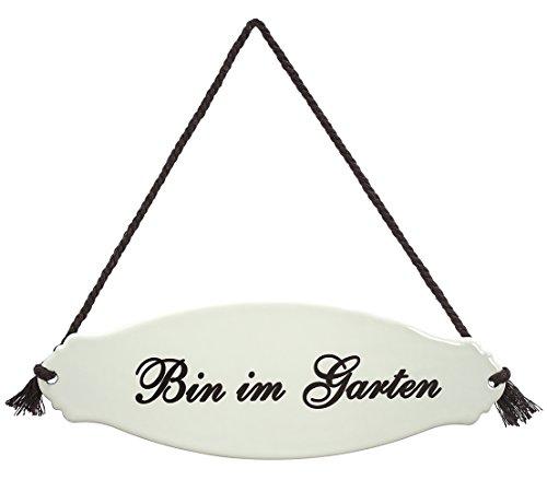Dehner Gartenschild 'Bin im Garten', ca. 30.5 x 10.5 x 0.3 cm, Stahl, weiß/beige