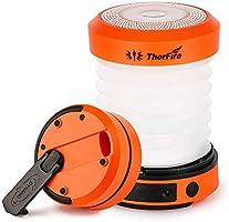 ThorFire Campinglamp LED Opvouwbare Lantaarn, Dynamo Draagbare Zaklamp, Oplaadbaar Door Crank en USB, Campinglicht voor...