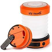 ThorFire Campinglampe LED Faltbare Laterne, Dynamo Tragbar Taschenlampe, Wiederaufladbar durch Kurbel und USB, Campingleuchte für Angeln Outdoor Camping, Orange