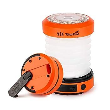 ThorFire Lampe De Camping, USB Lanterne Pliable Rechargeable, Lampe Portable Rechargeable à Manivelle, Lampe Maison Rechargeable, Lumière LED Haute Luminosité, Randonnée Accessoires Bivouac, Orange