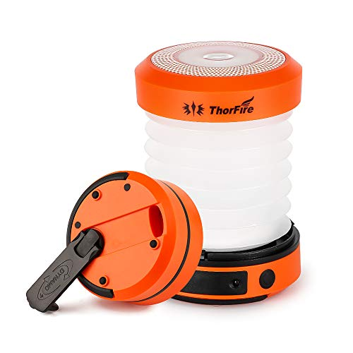 Thorfire LED Camping Lantern Lights Hand Crank USB Rechargeable Lanterns Collapsible Mini Flashlight Emergency Torch Night Light Tent Lamp for Camping Hiking Tent Garden Patio - CL01(Orange)