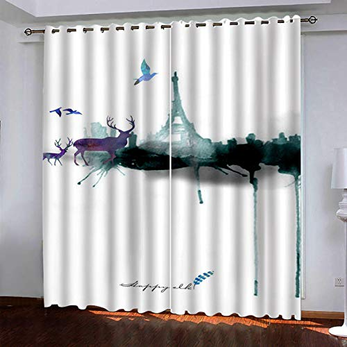 AYMAYM Christmas Thanksgiving Bedroom Blackout Curtains Eyelet Ring Top Curtains 207x283cm(42x72 inch) watercolor elk Paris pylons. Thermal Insulated Window Shading Window for Nursery Kids Blackout Cu