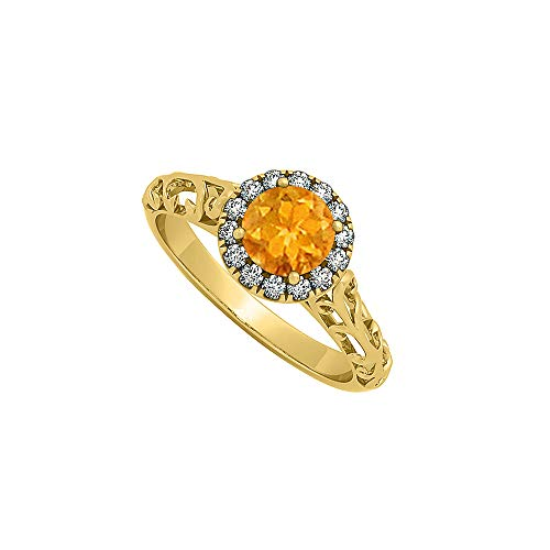 Citrine and CZ Filigree Design Halo Engagement Ring in 14K Yellow Gold 0.66 CT TGW