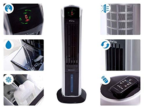 PURLINE RAFY 82 Condizionatore d'aria evaporativo con funzione di riscaldamento, umidificatore, ionizzatore, ABS, nero e argento