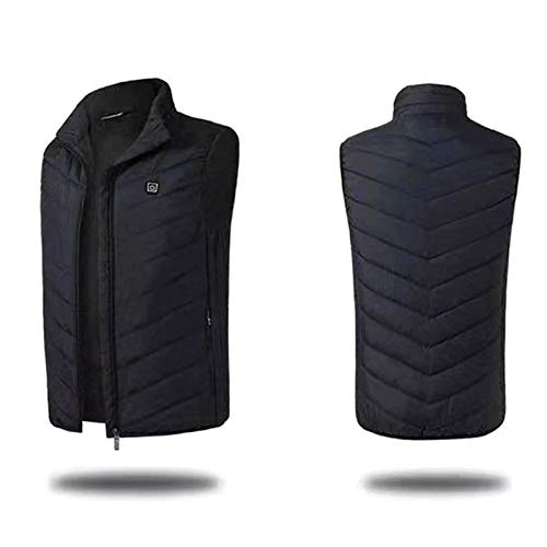 Heated Waistcoat USB Back Neck Electric Heating Warm Vest Outdoor Heating Clothing for Camping Hiking Skiing (Color : Black, Size : Medium)
