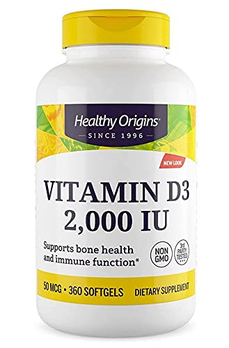 Healthy Origins, Vitamina D3 2.000 IU Dose depot, 360 capsule, senza glutine, senza soia