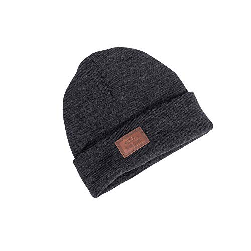 SMILODOX Mütze mit stylischem Lederpatch | Angenehm weich für Sport Fitness Training & Freizeit | Unisex Beanie ideal für Winter - Wintermütze, Farbe:Anthrazit