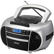 Jensen Top-Loading Boombox CD/MP3 Black Series CD/MP3 AM/FM Radio Cassette Player, and Recorder Boombox Home Audio, Aux, Headphone Jack (Silver)