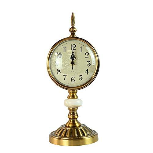 SGR SHOPS Retro grote stille klok, marmeren basis, creatieve ornamenten, Romeinse digitale metalen klok, woonkamer slaapkamer kantoordecoratie