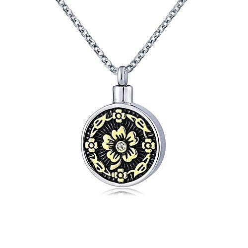 UNIQUEEN Angel Wings Cross Urn Necklace Pendant Religious Cross Ashes Holder Cremation Jewellery (Sun Flower)