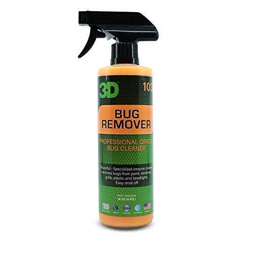 3D Auto Detailing Products Bug Remover   Enzyme Based Cleaner   Concentrated Degreaser   Removes Insects & Bugs   Works on Plastic, Rubber, Metal, Chrome, Aluminum, Windows & Mirrors (16 oz.) Product
