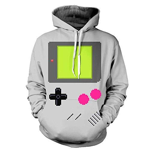 Unisex Paare Gameboy Kapuzenpullover 3D Gedruckt Schnell Trocken Sweat Shirt Langarm Hoodie Taschen Top WY-61 (Color : Multi-Colored, Size : L/XL)